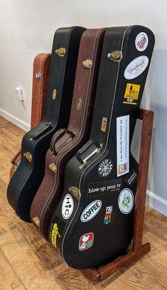 Walnut Guitar Case Stand   Etsy Guitar Storage, Display Easel, Wood Rack, Guitar Case, Banjo, Etsy, Music, Club, Room