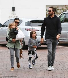 Family time: Kourtney Kardashian was spotted enjoying a day of bonding with two of her three children and partner of nine years Scott Disick in Malibu, California