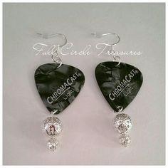 "2"" Silver pearl guitar pick earrings, silver beads, rocker earrings, gift for musician, handmade dangle earrings, original design, OOAK by FullCircleTreasures on Etsy"
