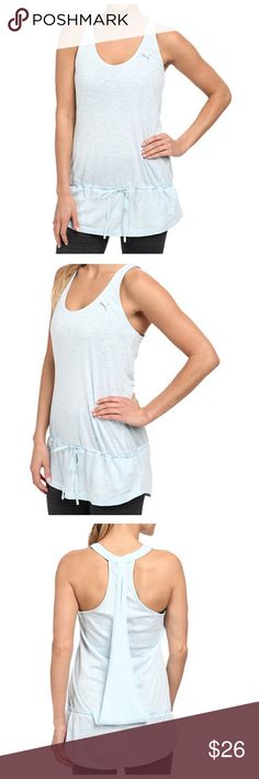 PUMA Yogini Baby blue Layer Athletic Tank🌾 This cute Puma baby blue yoga athletic top is every . Very comfortable and convenient for your daily workout , features includes : Scoop neckline🍃🌾 Racerback design with overlay at back for added style. Drawstring tie at dropped waist with ruffle hemline. Cat logo at left shoulder. 60% cotton, 40% modal. New with tags Puma Tops Tank Tops