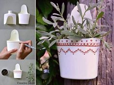 How to re-purpose bottles into wall mounted planting pots step by step DIY tutorial instructions, How to, how to do, diy instructions, crafts, do it yourself, diy website, art project ideas