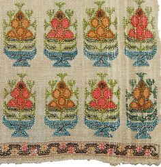 ANTIQUE OTTOMAN SILK EMBROIDERY FRAGMENT