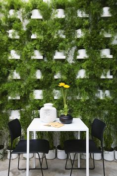 Green wall - would be really cool to recreate at the end of an aisle   http://www.urbangrangeliving.com/