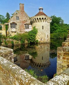 Scotney Castle Landscape Gardens, Kent, England   View of castle ruins reflected in moat