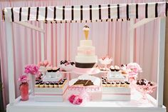 Ice Cream Birthday Dessert Table...so cute!