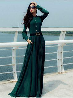Casual Buttons Long Sleeve Beach Party Chiffon Dress
