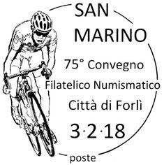 03/02/2018, Città di Forlì, 75° Convegno Filatelico Numismatico  L'annullo è dedicato allo sport e raffigura un ciclista.   La manifestazione si terrà il 3 e 4 febbraio 2018 presso la Sala Contrattazioni, palazzo di Vetro della Fiera di Forlì, via Punta di Ferro 4 https://www.facebook.com/ufnRSM/photos/a.1036056573200395.1073741922.620718548067535/1036056596533726/?type=3
