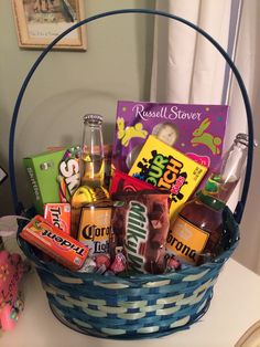 Man bouquet man basket gift for him easy dyi great birthday easter basket for him negle Images