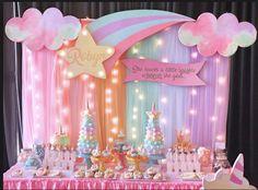 Robyn's Dreamy Princess Themed Party – Birthday - Geburtstag Baby Girl Birthday Theme, 1st Birthday Princess, Unicorn Themed Birthday Party, Princess Theme Party, Rainbow Birthday Party, 1st Birthday Parties, Diy Birthday, Indoor Birthday, 1st Birthdays
