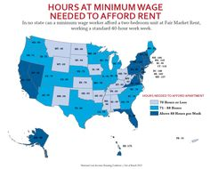 Map by the National Low Income Housing Coalition shows how many hours you need to work at minimum wage to afford a apartment in various states. By the National Low Income Housing Coalition. Found on the Daily Agenda. Troll, 40 Hours, Thing 1, Minimum Wage, Two Bedroom Apartments, Work Week, Affordable Housing, Social Issues, Geography