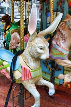 I'm usually a horse-only carousel purist, but this bunny is too cute.