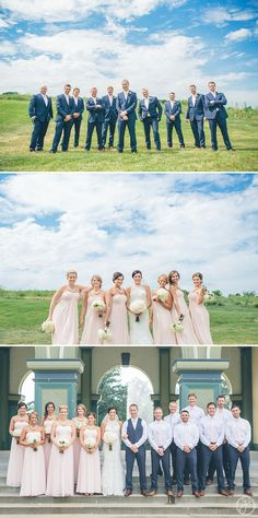 groomsmen in navy blue suits and pink ties, bridesmaids in blush pink dresses, white roses and peonies bouquets