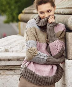 Свитер в пастельных тонах - схема вязания спицами. Вяжем Свитеры на Verena.ru