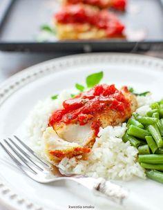 Pieczone bruschetty z dorsza z pomidorami Snack Recipes, Snacks, Fast Dinners, Fodmap, Bruschetta, Food Inspiration, Risotto, Shrimp, Favorite Recipes