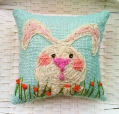 Little White Bunny Freehand Embroidered Crewel mini by YelliKelli, $18.00