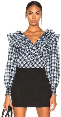 Ganni Charron Top in Serenity Blue Serenity, Mini Skirts, Blouse, Long Sleeve, Sleeves, Shopping, Tops, Women, Fashion
