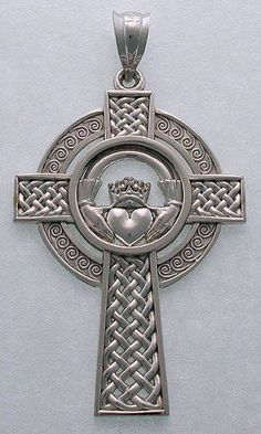 The Claddagh Cross is a 16th century Irish symbol of eternal love and friendship. The heart at the centrer of the design is symbolic of love, the hands around it symbolize friendship, while the crowns represent everlasting loyalty. The Caddagh set in a cross adds spirituality to the equation.