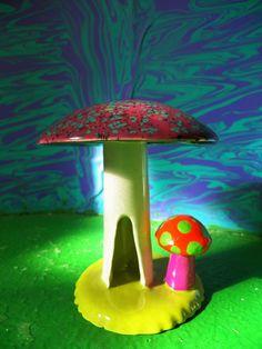 Trippy Shroom Mushroom hippie incense smoker by BugOutStudios, $15.00