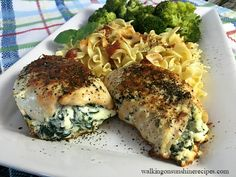 The Best Chicken Stuffed with Ricotta and Spinach Recipe from Walking on Sunshine Recipes.