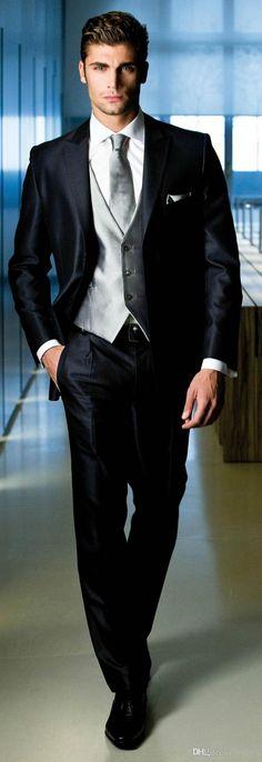 2015 Custom Made Men Tuxedos Three-Piece Suits Notched Lapel Light Slim Fitting Two Buttons Men Blazer Suit Plus Size Jacket+Pants+Vest, $98.05
