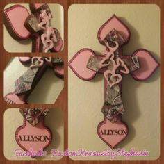 Pink Camo Blingy Wall Cross