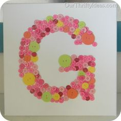 Our Thrifty Ideas: Button Letter on Canvas