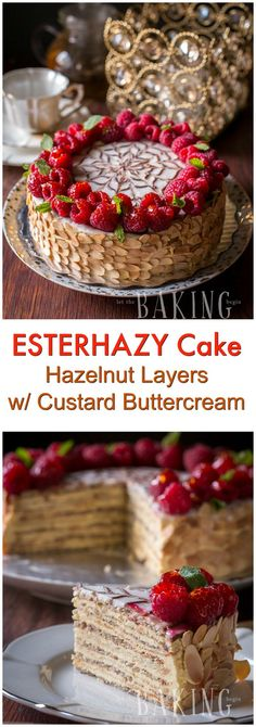 Esterhazy - Exceptional Hungarian cake made of Hazelnut Meringue and rich Custard Buttercream . This dessert recipe will leave your guests speechless! Hungarian Desserts, Hungarian Cake, Hungarian Recipes, Just Desserts, Delicious Desserts, Yummy Food, Baking Recipes, Cake Recipes, Baking Desserts