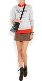 sweatshirt over tweed skirt