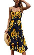 Angashion Women's Dresses-Summer Floral Bohemian Spaghetti Strap Button Down Swing Midi Dress with Pockets at Amazon Women's Clothing store: