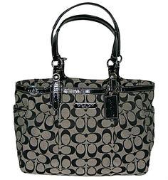 59e5479c71 Coach Gallery 12 cm Signature East West Tote Handbag - Black White http