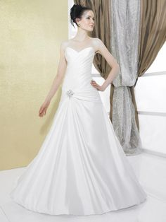 A-line Sweetheart Ruched Bodice Beaded Applique Dropped Waist Satin Wedding Dress-wa0266, $249.95