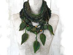 Knit scarf infinity necklace boho knit loop Felt Hand