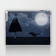 der einsame Rabe in der Nacht Laptop & iPad Skin by DagmarMarina - $25.00