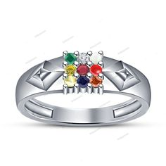 14K White Gold Finish 9 Multi-Stone Navratna Men's Ring in 925 Sterling Silver #beijojewels #NavaratnaMensBandRing #EngagementWeddingAnniversaryValentines
