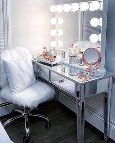 Sophie premium mirrored vanity table * impressions vanity co. Bedroom Makeup Vanity, Makeup Table Vanity, Vanity Room, Makeup Room Decor, Vanity Decor, Vanity Ideas, Makeup Rooms, Bedroom With Vanity, Diy Vanity Table