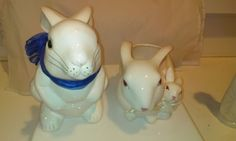 Set of 2 - Retro Collectible Ceramic Bunny Planters - Easter Decorations