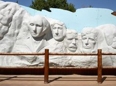 Picture of a faux Mount Rushmore