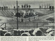 June 15, 1955 - #Wausau Mayor A.M. Smith greets the audience at Athletic Park for a #FlagDay ceremony.