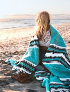 $29 Handmade Mint Diamond  Yoga Blankets from Open Road Goods