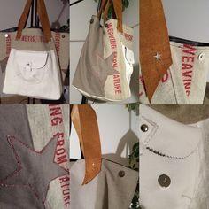 BLANCO : sac shopping style vintage en tissu et motif étoile