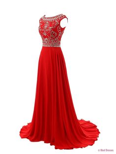 Red Prom Dresses,Elegant Evening Dresses,Long Formal Gowns,Beading Party Dresses,Chiffon Pageant Formal Dress,Cap Sleeves Evening Gown PD20185242