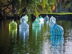 Dale Chihuly, artist - blue/green art glass installation - Coral Gables Florida