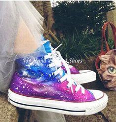 Galaxy Converse Galaxy Shoes Custom Converse for women/men How To Lace Converse, Custom Converse, Converse Style, Galaxy Converse, Galaxy Shoes, Grunge Outfits, Grunge Fashion, Hand Painted Shoes, Platform Boots