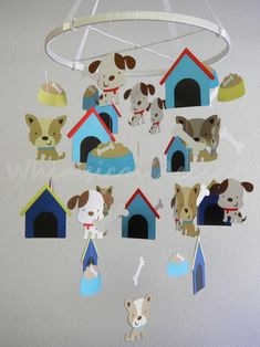 DECOR : MOBILES : THEMED ~~~ Puppy and Bone Baby Paper Mobile.  Beautifully crafted mobiles in a variety of themes!!!  Colorful and engaging. See various themes at http://www.luulla.com/store/whimsicalaccents?=2
