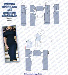 KiVita MoYo : VESTIDO ENTALLADO CON HOMBROS EN ENCAJE Diy Clothing, Sewing Clothes, Clothing Patterns, Dress Patterns, Corset Sewing Pattern, Easy Sewing Patterns, Checkered Skirt, Column Dress, Retro Dress