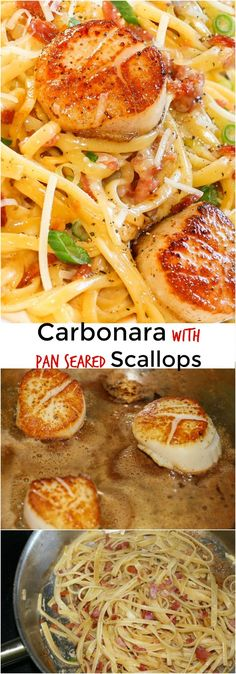 Carbonara with Pan Seared Scallops is one of my favourite recipes! Perfectly seared scallops served with a quick and simple carbonara pasta. #carbonara #scallops