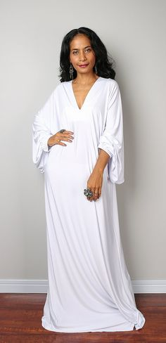 White Dress Maxi Dress Funky White Summer Dress: door Nuichan