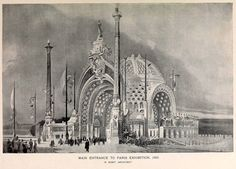 """archimaps: """" Design for the main entrance pavilion to the Paris Exhibition, 1900 """" Architecture Old, Architecture Drawings, Historical Architecture, Main Entrance, World's Fair, Beautiful Drawings, Barcelona Cathedral, Illustrations, Design Art"""