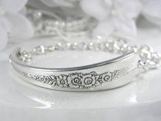 Spoon Bracelet, ID Bracelet, Spoon Jewelry, Silverware Jewelry, Silverware Bracelet, Bridesmaids Gifts, Vintage Wedding - 1939 ROYAL ROSE