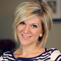 For growing it out: Simple Short Hairstyles for Women: Chic Straight Bob with Side Bangs
